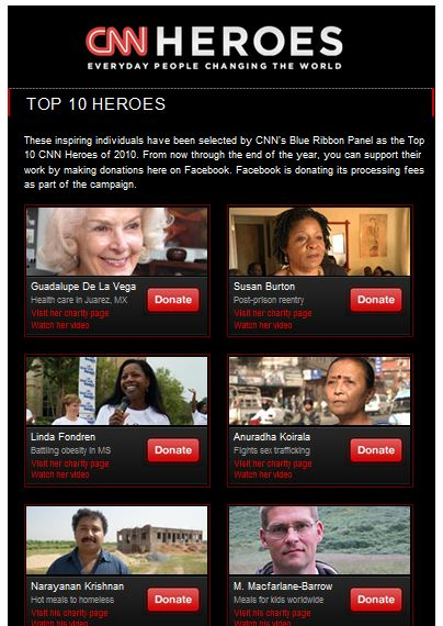 CNN Heroes Donation page on Facebook